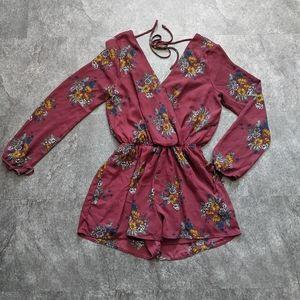One Clothing burgundy floral romper